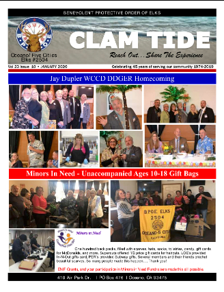Clam Tide Newsletter - Oceano Elks 2504