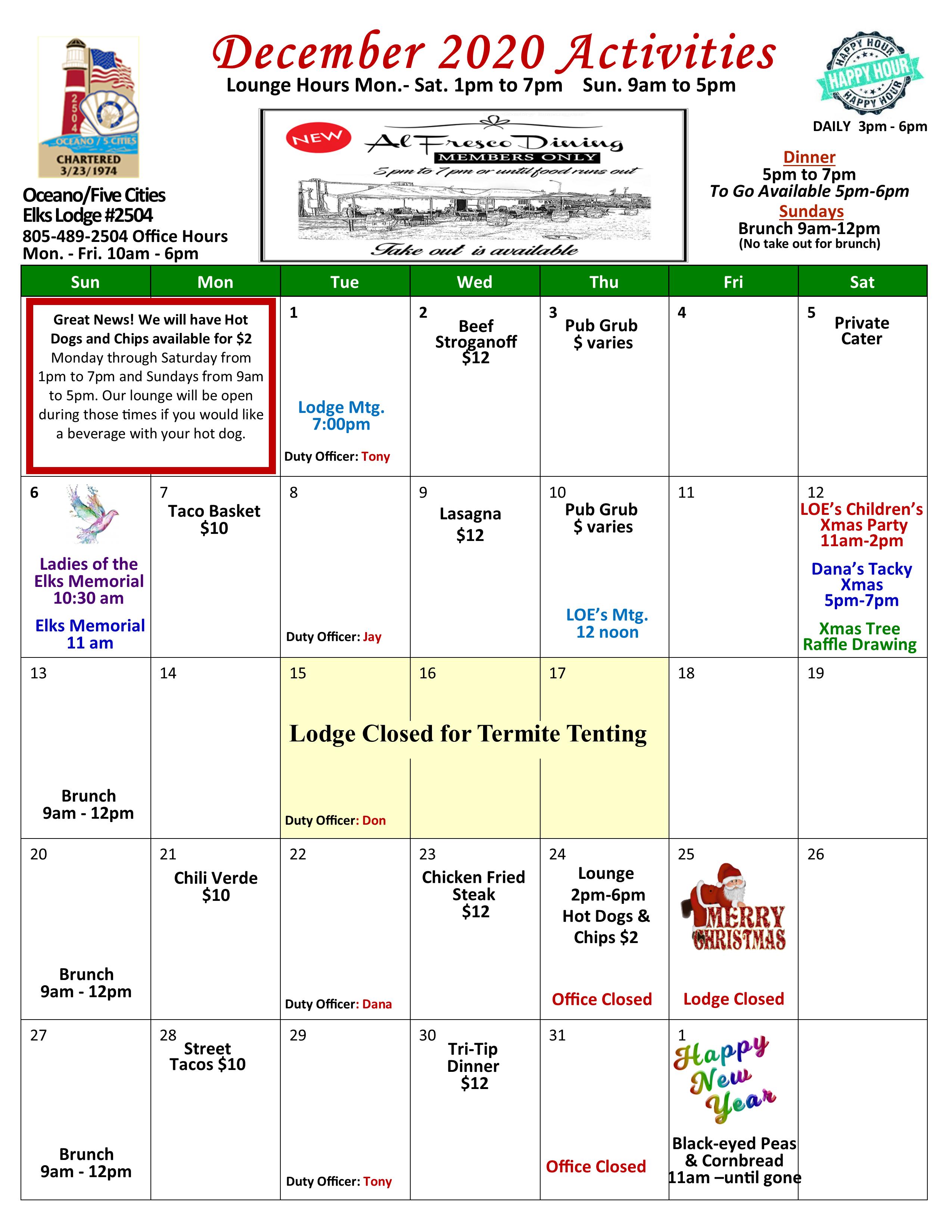 December 2020 Event Calendar