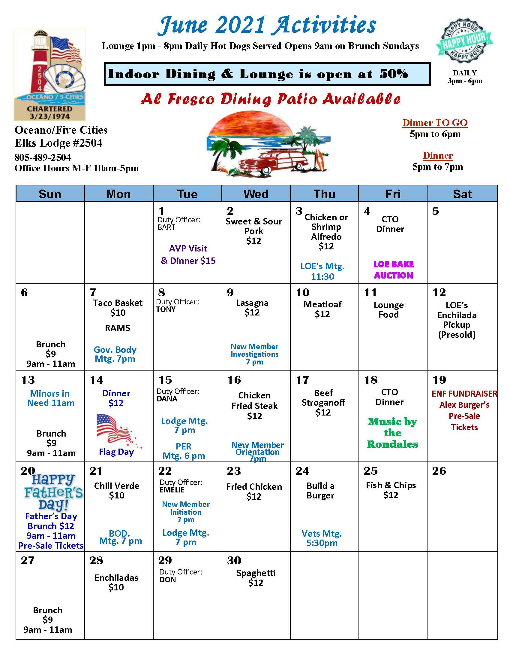 June 2021 Event Calendar