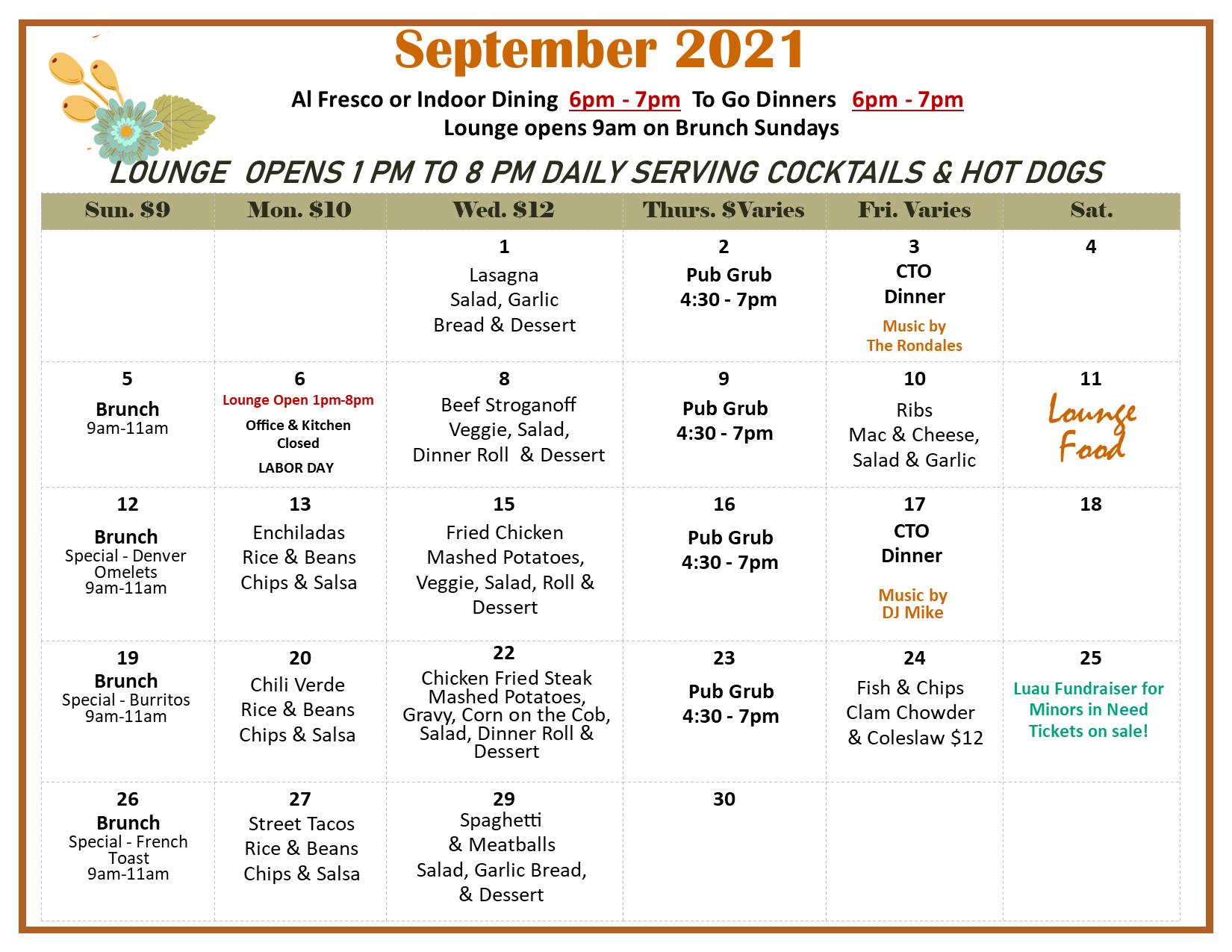 June 2021 Meals Calendar